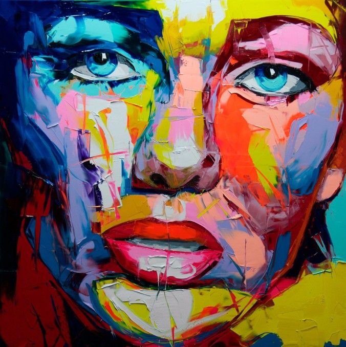 Knife-Abstract-Face-Painting-by-Francoise-Nielly-Designer-Handmade-Modern-Wall-Art-Oil-Painting-Decoration-On
